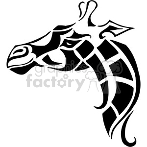 vector black+white animals wild outline vinyl-ready giraffe tattoo