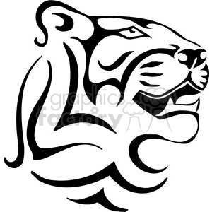 vector black+white animals wild outline vinyl-ready cat lion puma cougar tattoo