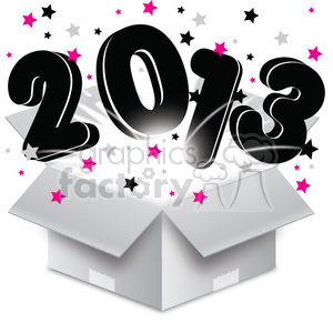 2013 bursting open box new year clipart. Commercial use image # 385972