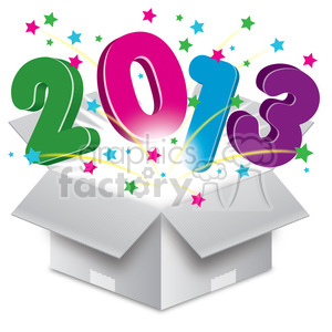 2013 bursting open box clipart. Royalty-free image # 385982