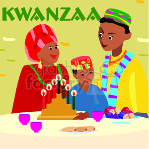 family celebrating Kwanzaa clipart. Commercial use image # 145014