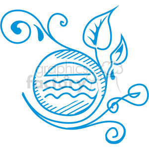 organic symbol -  water and leafs clipart. Commercial use image # 386124