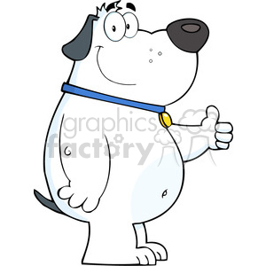 5227-Smiling-White-Fat-Dog-Showing-Thumbs-Up-Royalty-Free-RF-Clipart-Image clipart. Royalty-free image # 386273