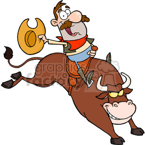 5139-Cowboy-Riding-Bull-In-Rodeo-Royalty-Free-RF-Clipart-Image clipart. Royalty-free image # 386323