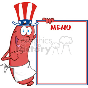 Happy Sausage With American Patriotic Hat Showing Menu clipart. Commercial use image # 386469