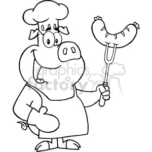 Happy-Pig-Chef-Cartoon-Mascot-Character-With-Sausage-On-Fork clipart. Commercial use image # 386479