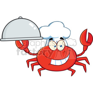 Crab Chef Cartoon Mascot Character Holding A Platter clipart. Commercial use image # 386529