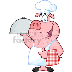 Happy Pig Chef Holding A Platter clipart. Commercial use image # 386569