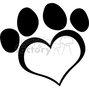 Black-Love-Paw-Print clipart. Commercial use image # 386589