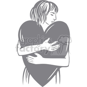 women hugging a heart clipart. Royalty-free image # 386638