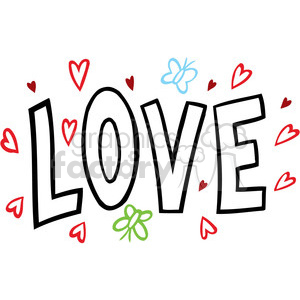 love Valentines hearts cartoon vector word