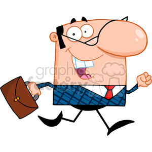 Royalty Free Lucky Business Manager Running To Work With Briefcase clipart. Royalty-free image # 386826
