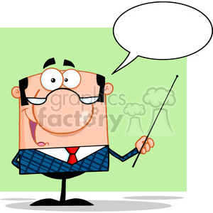 Clipart of Business Manager Gesturing With A Pointer Stick And Speech Bubble clipart. Royalty-free image # 386836