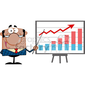 Clipart of Happy African American Business Manager With Pointer Presenting A Progressive Chart animation. Commercial use animation # 386846