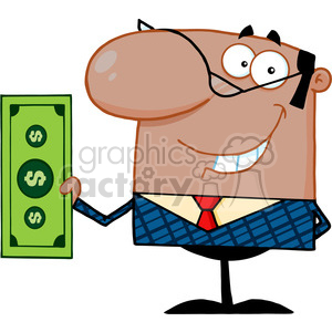 Clipart of Smiling African American Business Manager Holding A Dollar Bill clipart. Royalty-free image # 386876