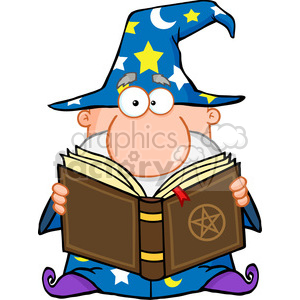 Royalty Free Funny Wizard Holding A Magic Book clipart. Royalty-free image # 386916