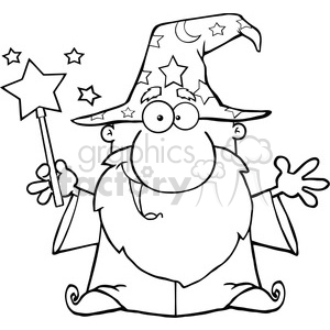 Clipart of Funny Wizard Waving With Magic Wand clipart. Royalty-free image # 386956