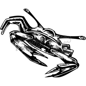 vinyl-ready black+white tattoo design animals creatures aggressive wild crab lobster sea