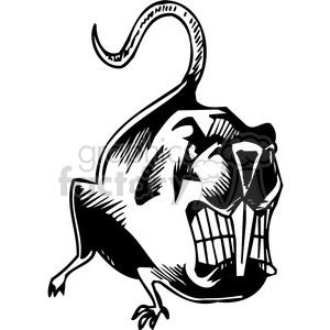 vinyl-ready black+white tattoo design animals creatures aggressive wild beaver mad rat