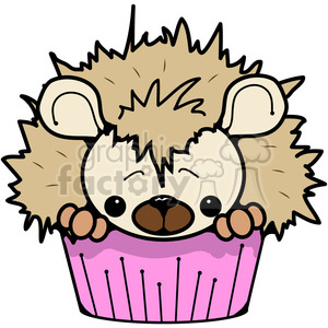 Cupcake Hedgehog in color clipart. Commercial use image # 387217