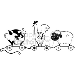 Pull Toy Farm Animal Train clipart. Commercial use image # 387297