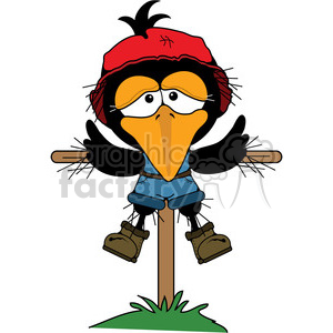 Crow Scarecrow on post clipart. Royalty-free image # 387449