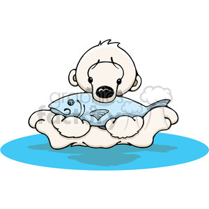 Baby polar bear eating a fish clipart. Royalty-free image # 387488