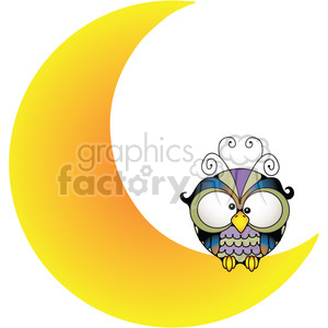 Owl on Moon COL clipart. Commercial use image # 387526