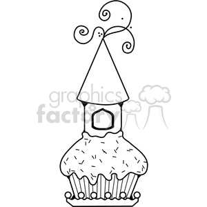 Cupcake Castle BW clipart. Commercial use image # 387578