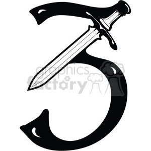 Number 3 Sword clipart. Royalty-free image # 387745
