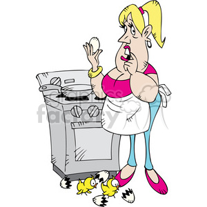 cartoon women boiling eggs character clipart. Commercial use image # 387774