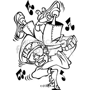 Black White Cartoon Hip Hop Dancer Character Clipart