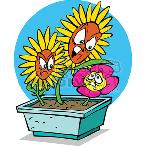 cartoon flower bullies clipart. Commercial use image # 387803