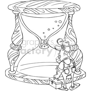 black and white cartoon maintenance man trying to fix a plugged hourglass clipart. Royalty-free image # 387843