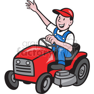 royalty free farmer riding tractor mower 387887 vector clip art rh graphicsfactory com  free lawn mower clipart download