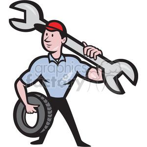 cartoon retro illustration mechanic mechanics garage auto wrench tire tires