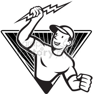 black and white electrician lightning bolt standing triangle clipart. Commercial use icon # 387907