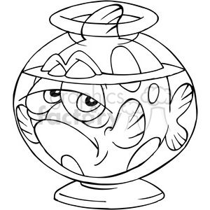 black white cartoon fish tank clipart. Royalty-free image # 387929