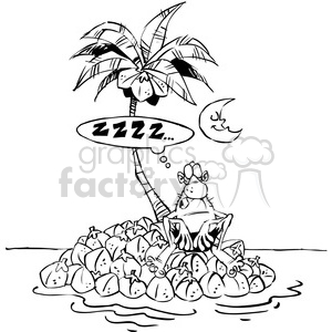 black white man on island stranded clipart. Commercial use image # 387939