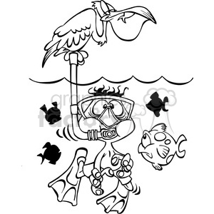 black white kid scuba diver clipart. Royalty-free image # 387959