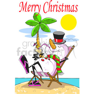 cartoon snowman on the beach clipart. Commercial use image # 388072