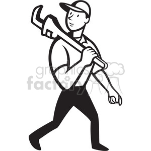 black and white plumber monkey wrench walk clipart. Royalty-free image # 388112