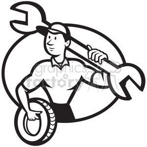 black and white mechanic spanner tyre front OVAL clipart. Commercial use image # 388122