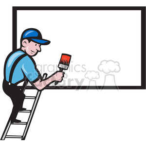 worker painting billboard blank clipart. Commercial use image # 388142