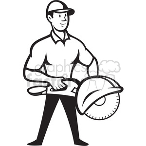 black and white concrete sawing drilling worker clipart. Commercial use image # 388162
