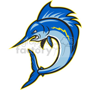 sailfish jumping cartoon clipart. Commercial use image # 388172