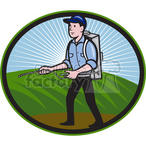 pest control exterminator spraying side clipart. Commercial use image # 388192