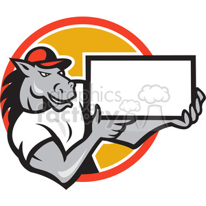 horse presenting blank sign clipart. Commercial use image # 388202