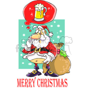 merry christmas santa claus dreaming with a beer clipart. Royalty-free image # 388222