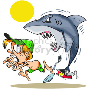 cartoon shark chasing a little boy on land clipart. Commercial use image # 388232